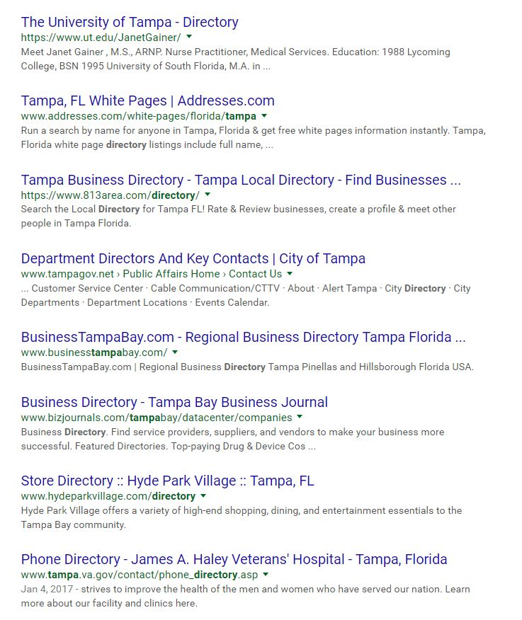 Results for Google Search Operator - intitle:tampa + directory