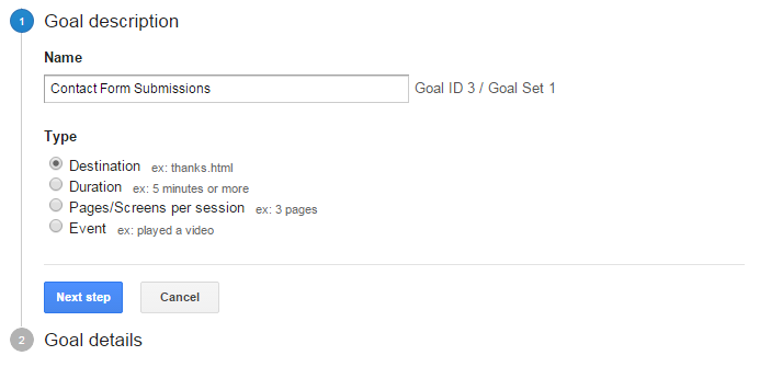 Google Analytics Goal Step 1 for Thank You page