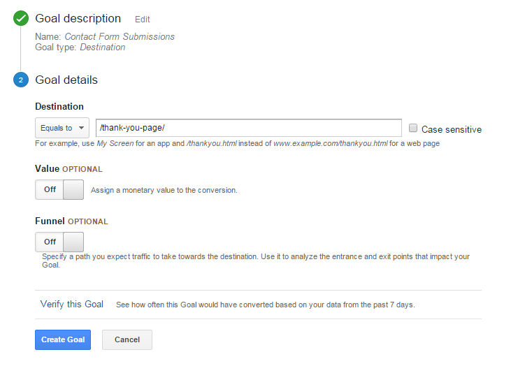 Google Analytics Goal Step 2 for Thank You page