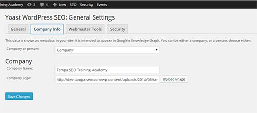 Yoast General Settings in 2.0. Now you can add your company or personal info and image.